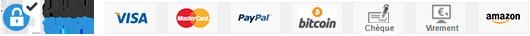 Paiement 100% Sécurisé SSL : CB, Visa, Mastercard, Paypal, Bitcoin, Cheque, Virement